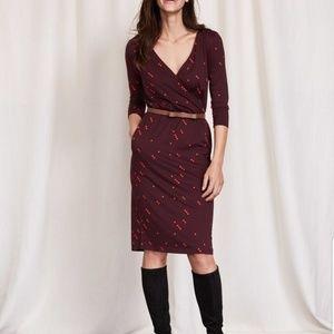 Boden Cressida Maroon Polka Dot Dress